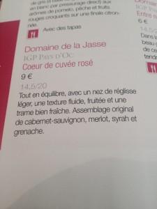 notes dégustation Rosé Jasse Combaillaux